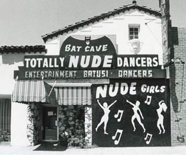 Vintage snap of Bat Cave Totally Nude Dancers strip club