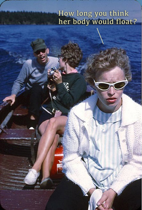 Vintage color snapshot kodachrome two women and guy in a boat on a lake meme How long do you think her body would float?