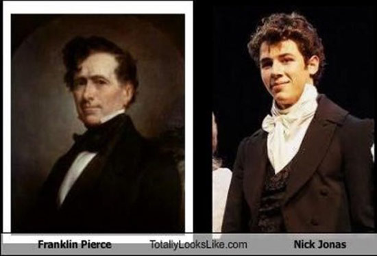 Celebrities that look like Historical Figures ~ Nick Jonas Franklin Pierce