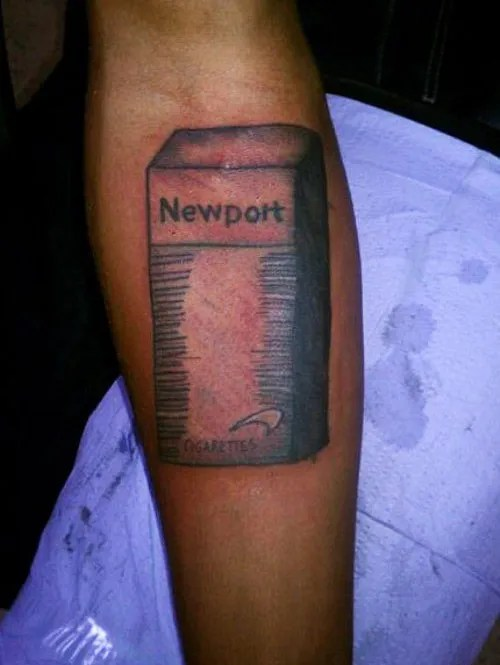 Pack of Newport cigarettes ~ The ugliest worst bad tattoos