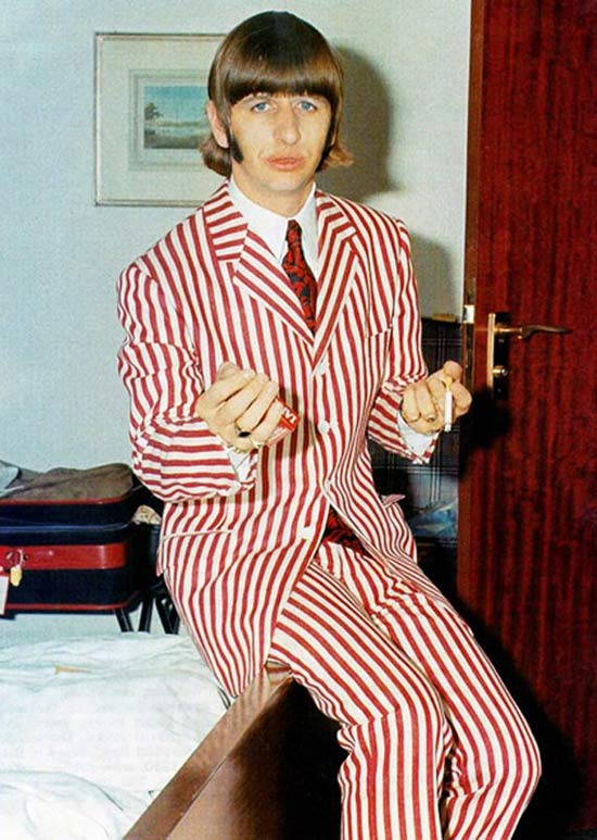 vintage Ringo Starr pic in red pin stripped suit