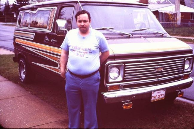 1970s color snap, fat sleazy man in front of fan in heat shirt ~Funny Awkward Family Photos