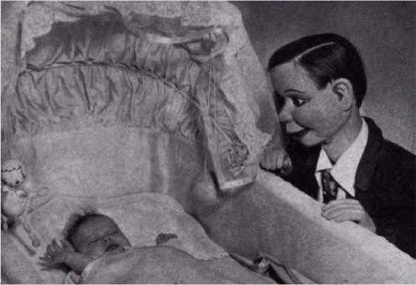 Scary Weird Creepy Old Photos ~ ventriloquist dummy staring at baby in crib