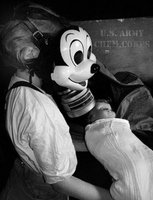 Scary Weird Creepy Old Photos ~ girl and baby in Mickey Mouse Gas Mask