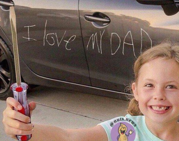 Girl scratches I Love my Dad in car door withscrew driver, they're so cute at that age ~Awkwardly Funny Family Photos