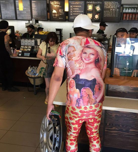 Man at starbucks in Britney Spears shirt, pepperoni pizza pants, holding a hubcap ~Awkwardly Funny Family Photos