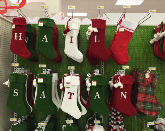 funny awkward christmas photos walmart christmas stockings hail satan - Funny Christmas Stockings