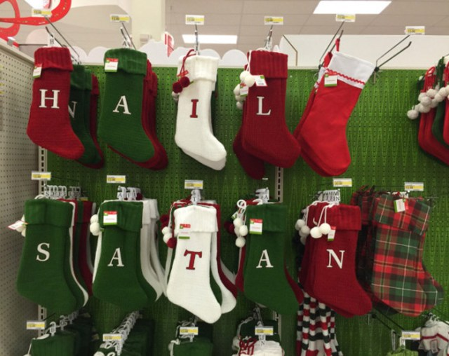 Funny Awkward Christmas Photos ~ Walmart Christmas stockings, Hail Satan