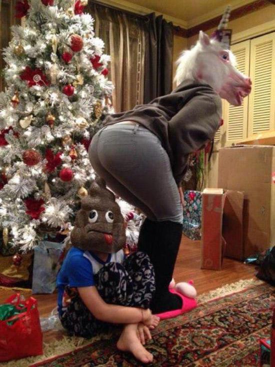 Awkward Family Christmas ~ Unicorn pooping poop head