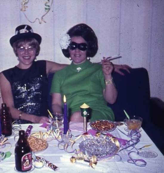 Funny Awkward Family Photos: vintage color snaps, women in costumes celebrating New Years, 1960s