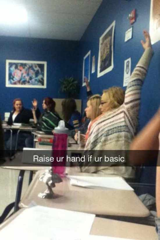 Image of: Snapchats Ever Funny Snapchats Girl Raising Hand Ur Basic Team Jimmy Joe 34 Funny Snapchats From The Quickwitted Creative Team Jimmy Joe