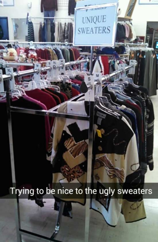 Funny Snapchats ~ Unique sweaters, trying to be nice to ugly sweaters