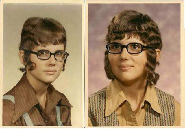 awkward old yearbook photo, girl with bad hair sideburn curls hanging don