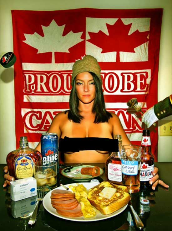 Canadian woman dinner table with Labatt's blue, crown royal, proud to be Canadian