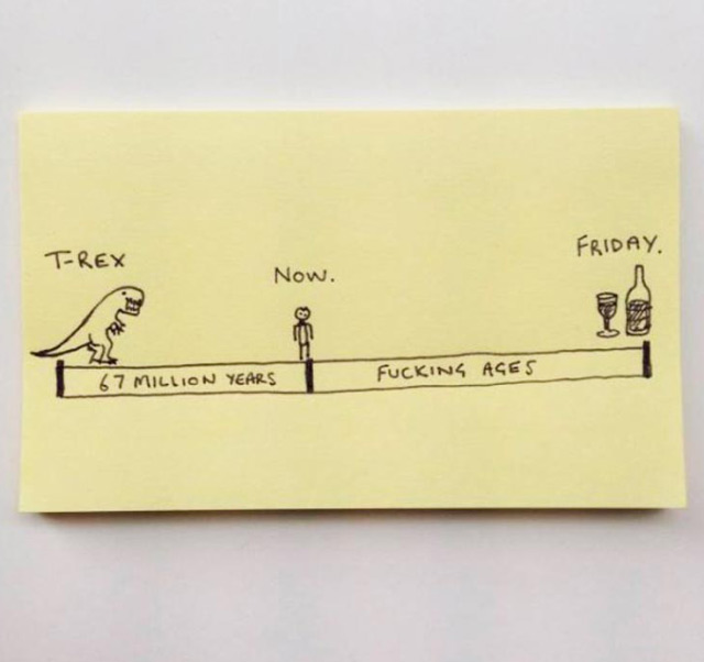funny timeline: T-Rex, Now, Friday