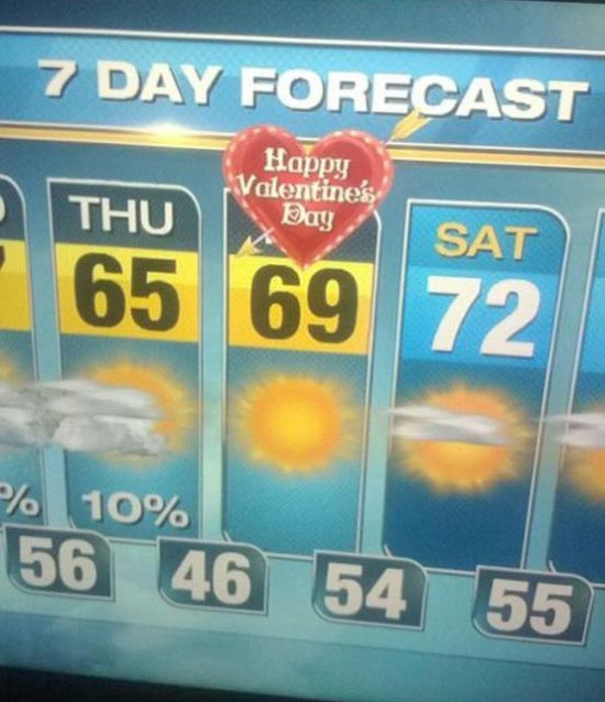 funny valentines weather forecast 69 degrees