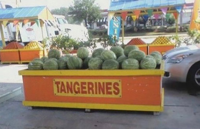 Tangerines bin filled with watermelons ~ Funny You Had One Job Fails