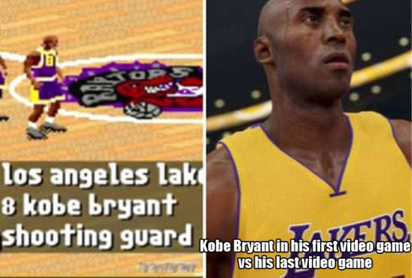 Funny Pictures: comparison of Kobe Bryants first and last video game