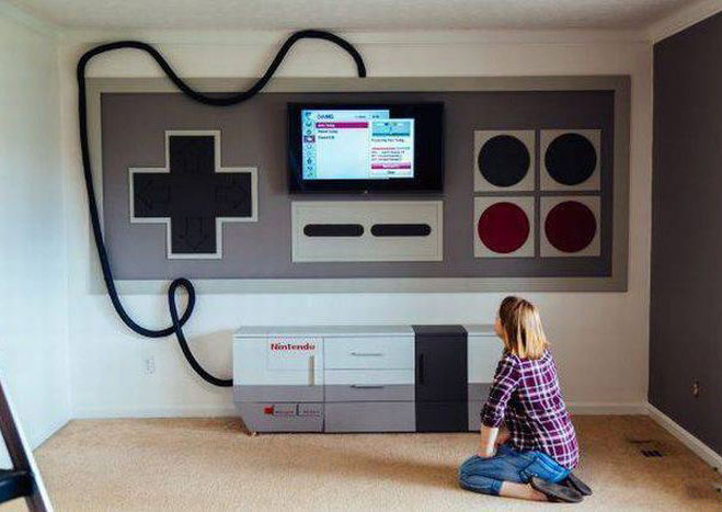 Funny Pictures: cool old school nintendo controller desk tv stand mounted on wall