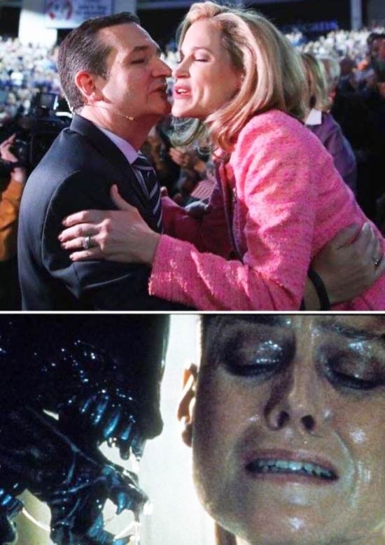Funny Pictures: Awkward Ted Cruz kiss with scene from alien