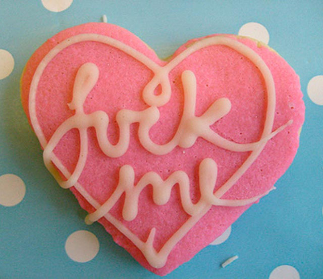 Funny Pictures: Valentines heart shaped cookie with Fuck Me written in icing