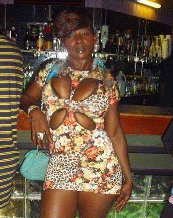 Funny wardrobe fashion fails : woman with slits in dress 4 leafed clover look