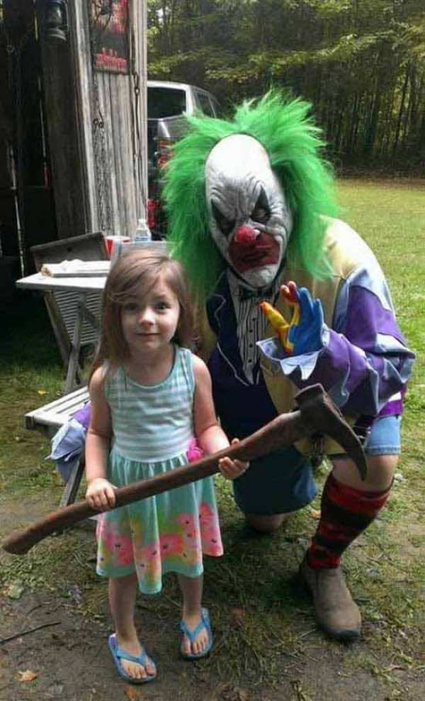awkward creepy photo little girl with axe and clown portrait