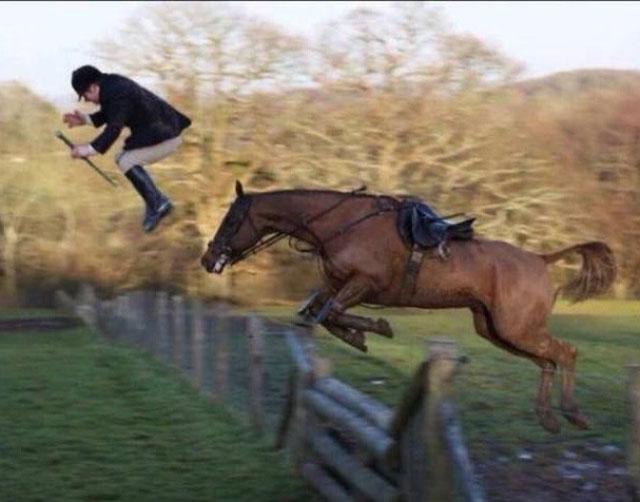 funny awkward horse jumping rider flying off