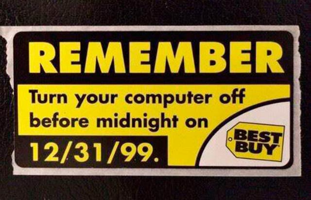 Funny pics ~ Best Buy Y2k sticker ~ Remember to turn off your computer at midnight