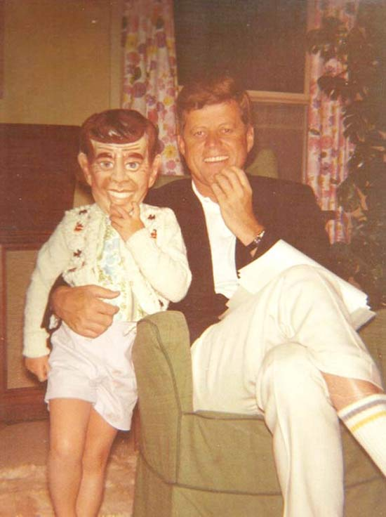 vintage pic of JFK and JFK jr halloween mask