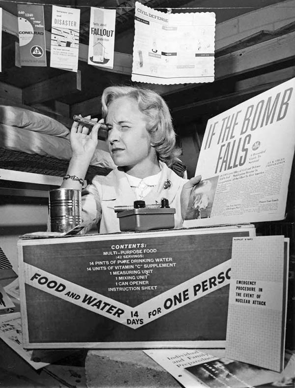 Funny Pics~ vintage snap woman in bomb shelter 1950s