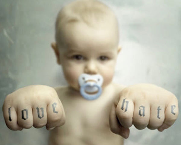 33 Funny Pics & Memes ~ Baby with Love & Hate tattooed on knuckles