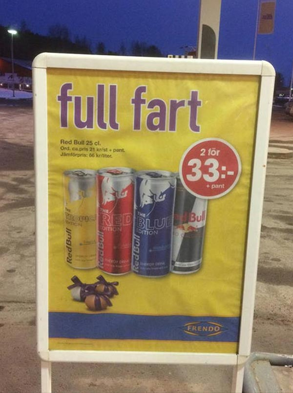 27 Funny Signs That Fail Big Time ~ Red Bull Full Fart