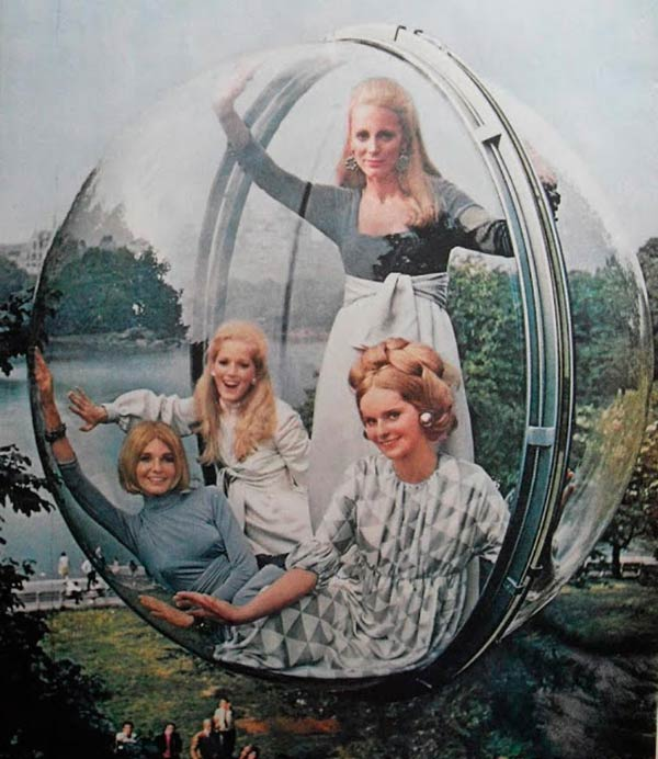 35 Funny Pics ~ vintage ad women in bubble 1960s fashion