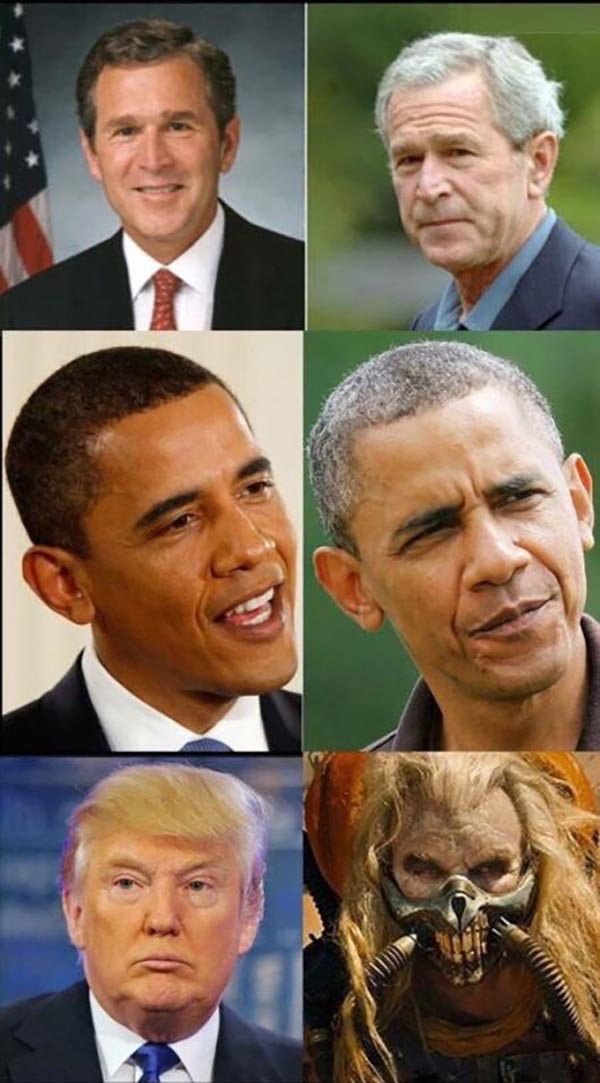 35 Funny Pics ~ presidents aging obama bush donald trump