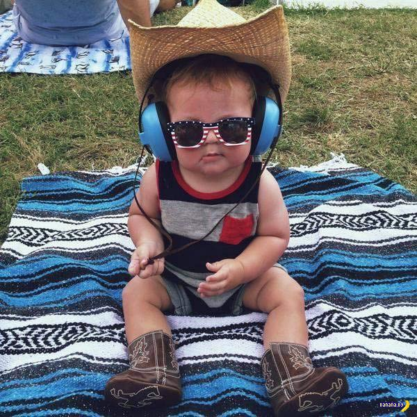35 Funny Pics ~ cute kid in cowboy hat sunglasses headphones