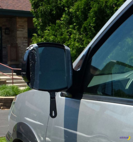 Funny Pics ~ 37 Outrageous Images! ~ redneck engineering side view mirror