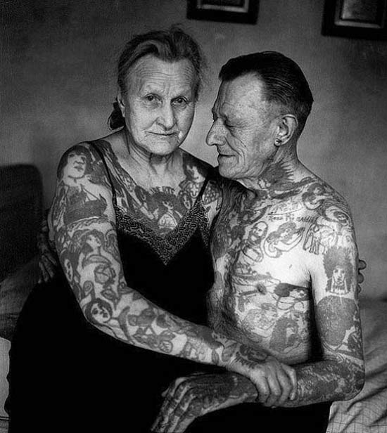 Funny Pics ~ 37 Outrageous Images ~ vintage tattooed couple