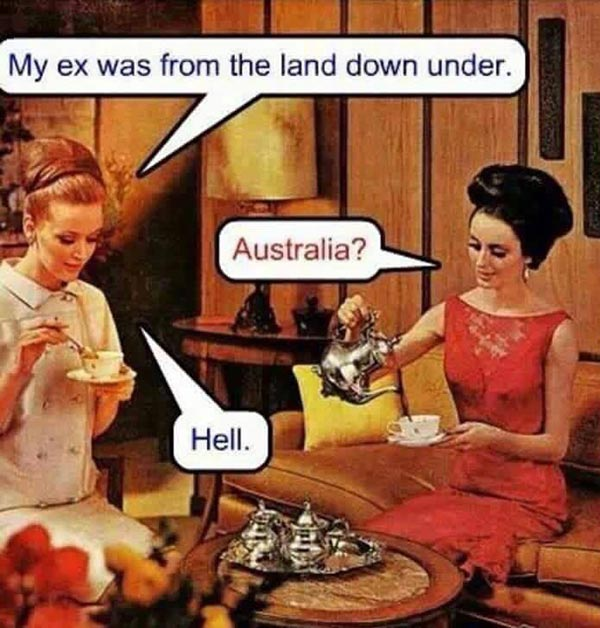 Funny Pics~ 1950s Housewife meme sarcastic ex land down under hell