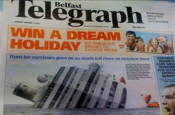 Bad Ad Placement Fails ~ dream vacation cruise ship capsized