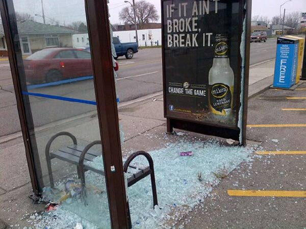 Funny Bad Ad Placement Fails ~ if it ain't broke bus shelter