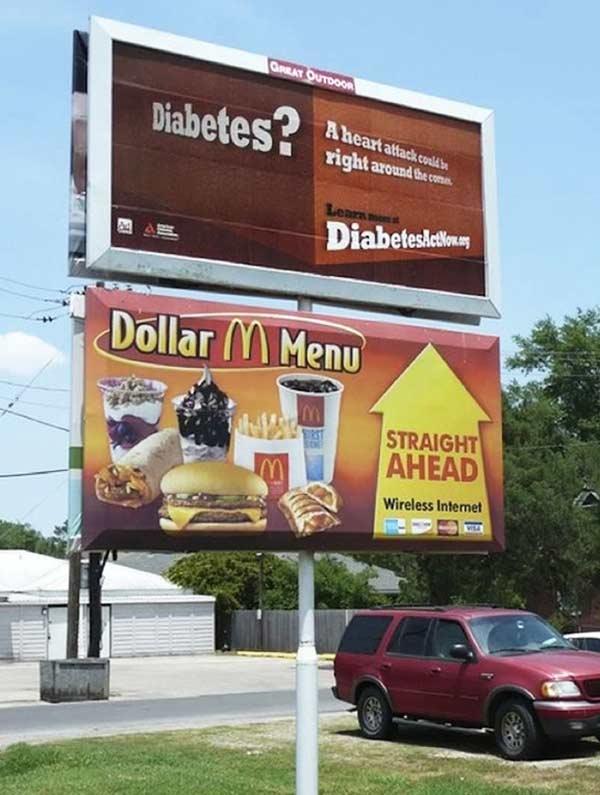 Bad Ad Placement Fails ~ Diabetes McDonald's Dollar Menu