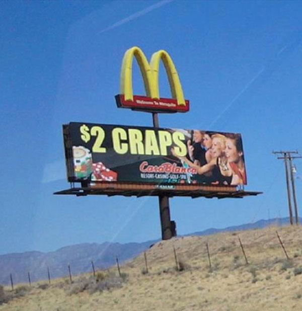 Funny Bad Ad Placement Fails ~ McDonald's $2 Craps