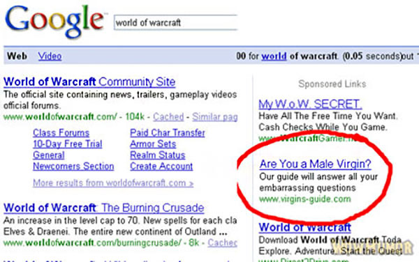 Funny Ad Placement Fails ~ World of Warcraft Virgin