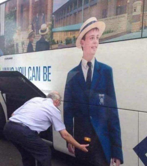 Unfortunate pic of bus driver grabbing crotch sign man