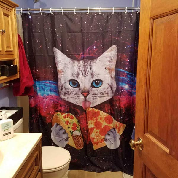 Funny Pics Memes ~ Cool showering curtain of cat eating pizza and taco