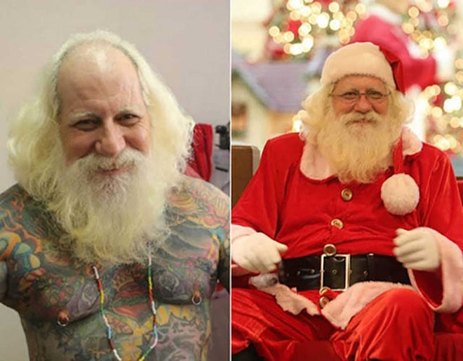 41 Funny Christmas Photos ~ tatted Santa before and after