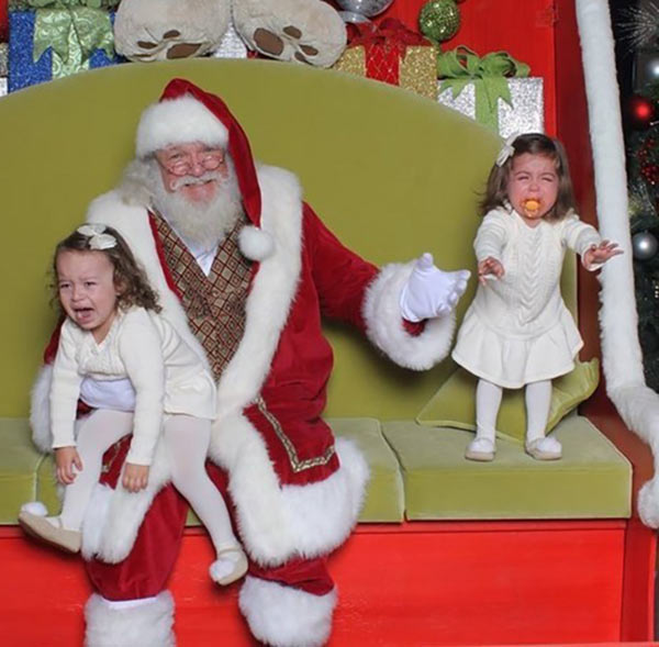 41 Funny Christmas Photos ~ Screaming twin girls on Santa's lap