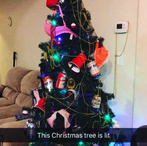 Funny Snapchat of Christmas Tree with beer cans, Christmas tree is lit