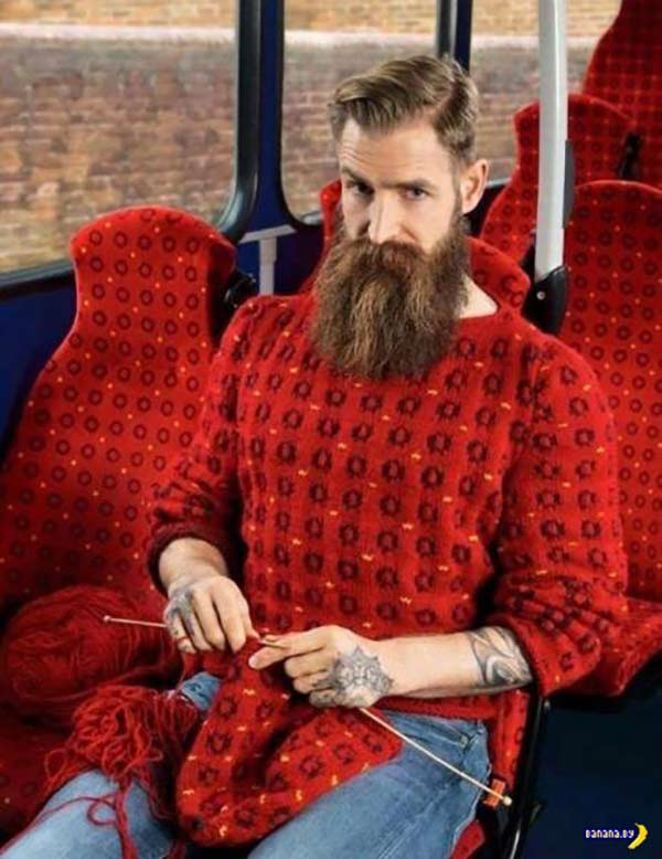 Funny Pics & Memes ~ Knitting hipster on bus with matching sweater and seat upholstery